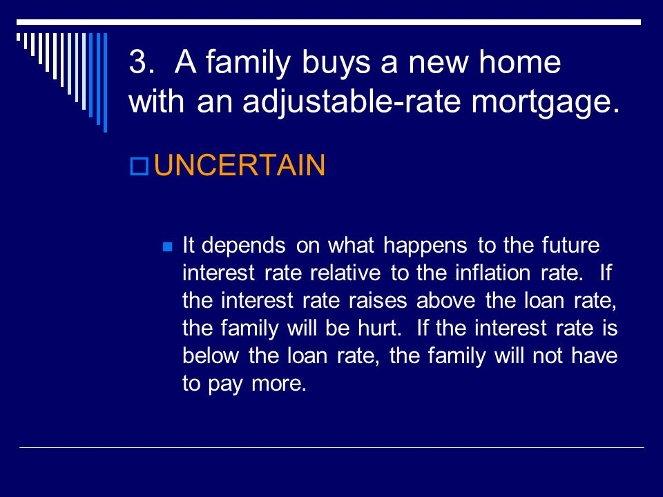 3.A family buys a new home with an adjustable-rate mortgage.