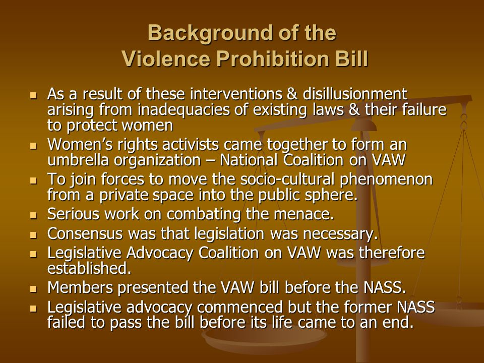 Background of the Violence Prohibition Bill As a result of these interventions & disillusionment arising from inadequacies of existing laws & their failure to protect women As a result of these interventions & disillusionment arising from inadequacies of existing laws & their failure to protect women Women's rights activists came together to form an umbrella organization – National Coalition on VAW Women's rights activists came together to form an umbrella organization – National Coalition on VAW To join forces to move the socio-cultural phenomenon from a private space into the public sphere.