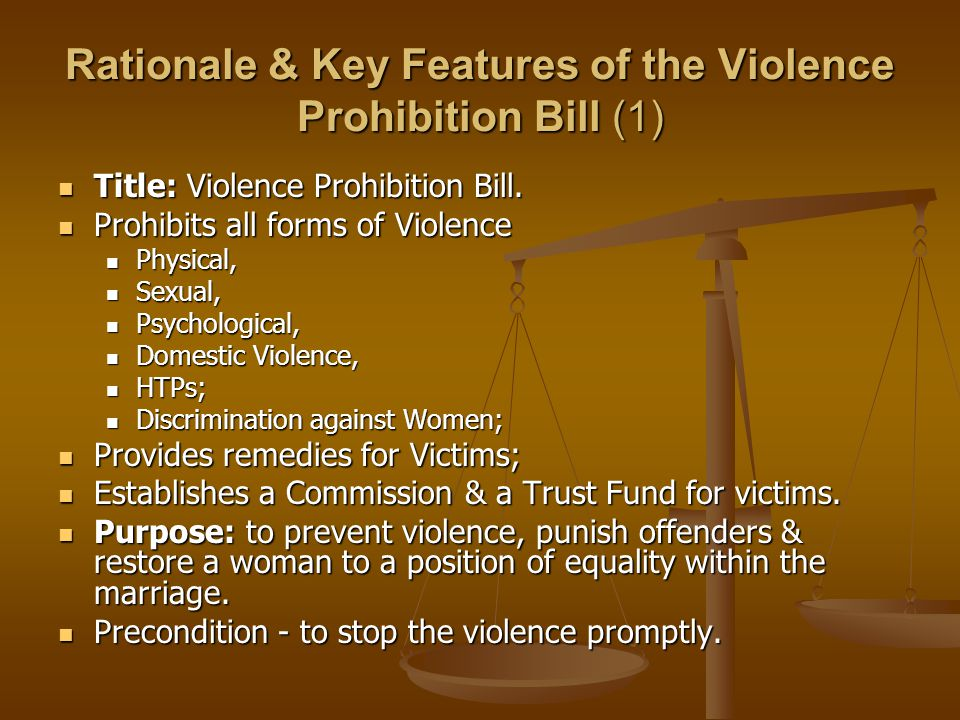 Rationale & Key Features of the Violence Prohibition Bill (1) Title: Violence Prohibition Bill. Title: Violence Prohibition Bill. Prohibits all forms