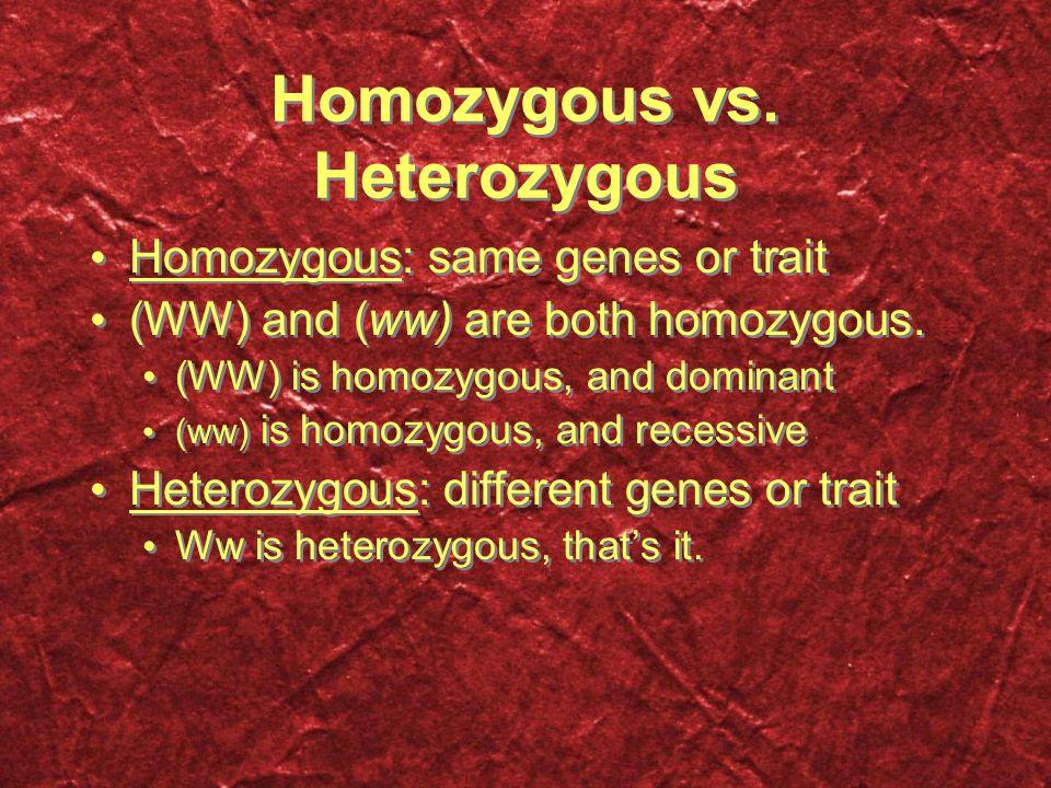 Homozygous vs. Heterozygous Homozygous: same genes or trait (WW) and (ww) are both homozygous.
