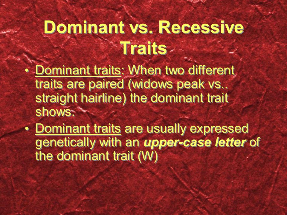 Dominant vs. Recessive Traits Dominant traits: When two different traits are paired (widows peak vs.. straight hairline) the dominant trait shows. Dom