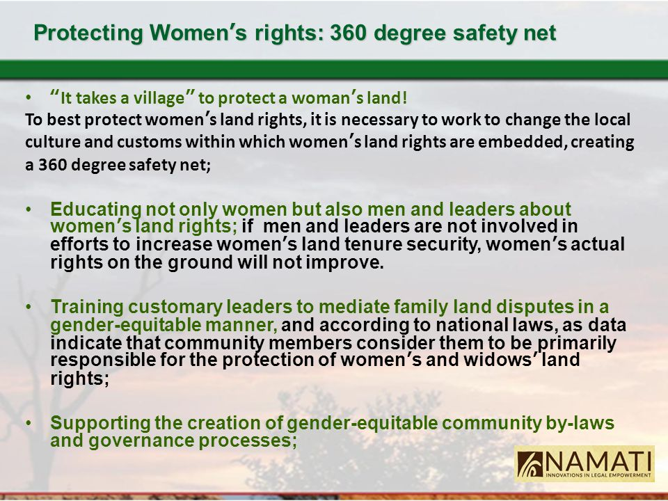 """Protecting Women's rights: 360 degree safety net """"It takes a village"""" to protect a woman's land! To best protect women's land rights, it is necessary"""