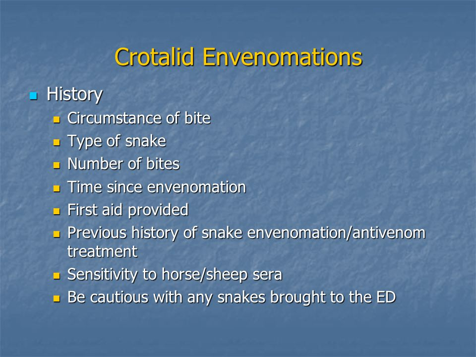 Crotalid Envenomations History History Circumstance of bite Circumstance of bite Type of snake Type of snake Number of bites Number of bites Time since envenomation Time since envenomation First aid provided First aid provided Previous history of snake envenomation/antivenom treatment Previous history of snake envenomation/antivenom treatment Sensitivity to horse/sheep sera Sensitivity to horse/sheep sera Be cautious with any snakes brought to the ED Be cautious with any snakes brought to the ED