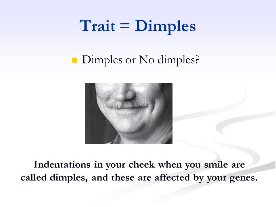 Trait = Dimples Dimples or No dimples.