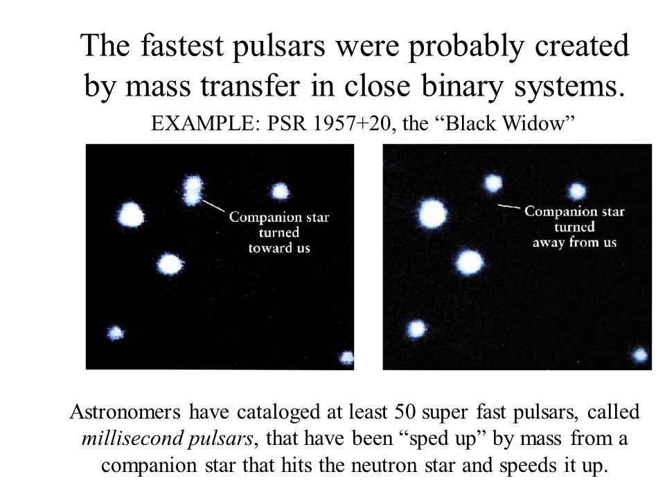The fastest pulsars were probably created by mass transfer in close binary systems. Astronomers have cataloged at least 50 super fast pulsars, called