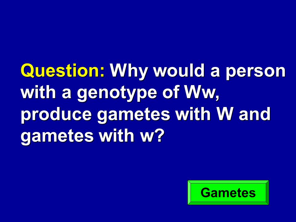 Question: Why would a person with a genotype of Ww, produce gametes with W and gametes with w? Gametes