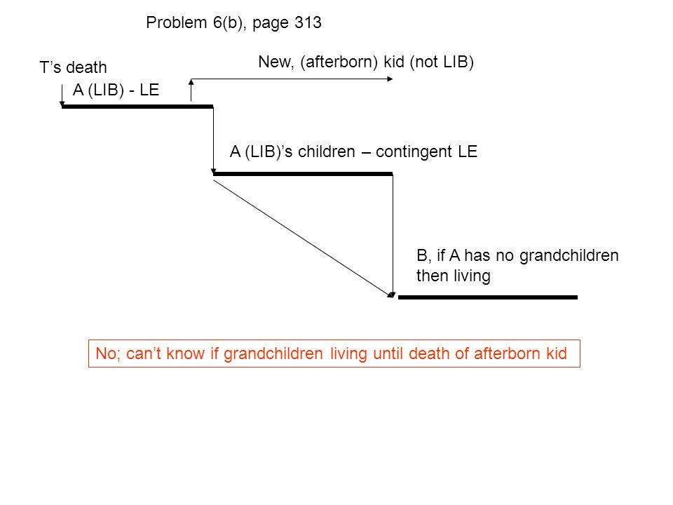 T's death A (LIB) - LE A (LIB)'s children – contingent LE Problem 6(b), page 313 B, if A has no grandchildren then living No; can't know if grandchild