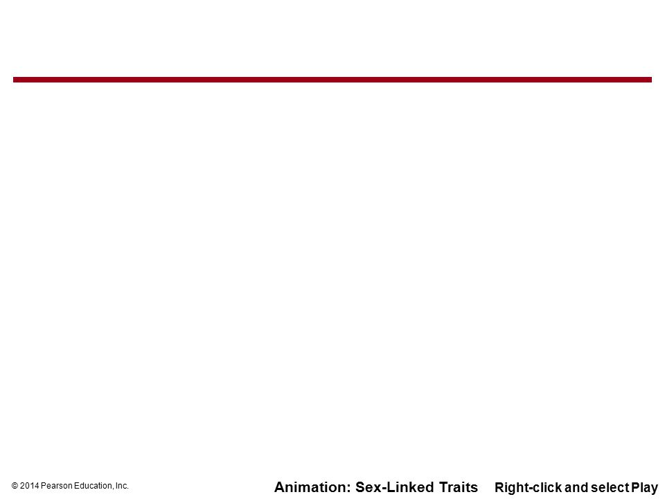 © 2014 Pearson Education, Inc. Animation: Sex-Linked Traits Right-click and select Play