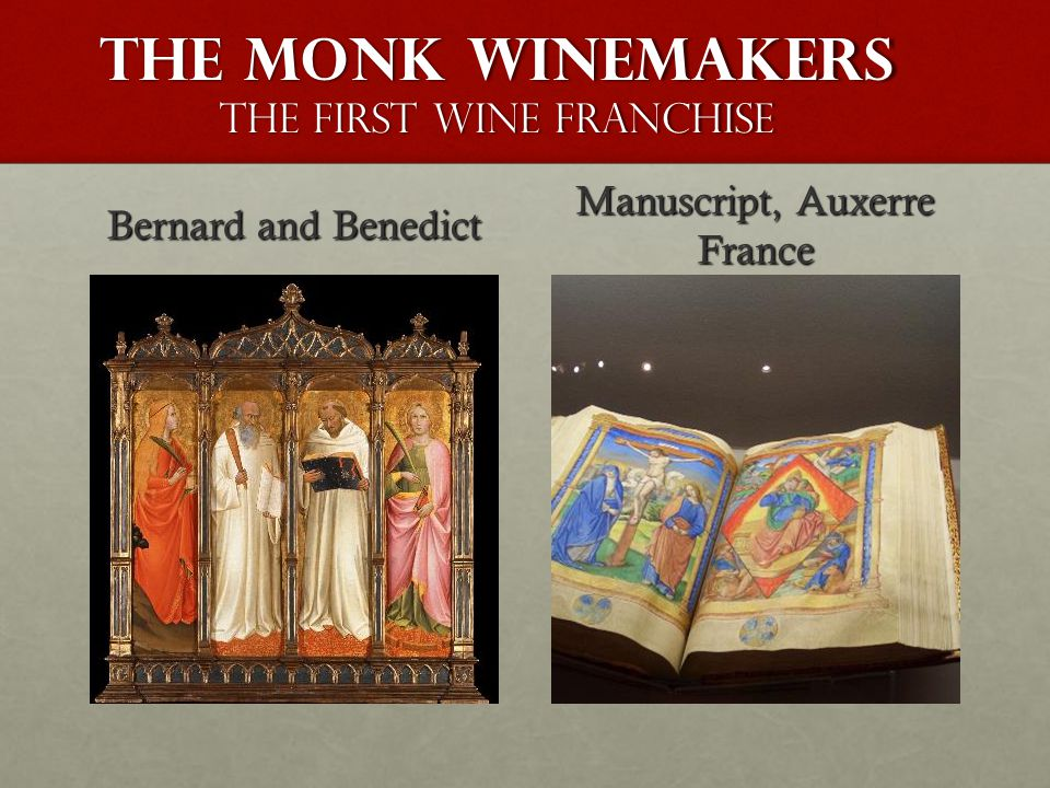 The monk winemakers The First Wine Franchise Bernard and Benedict Manuscript, Auxerre France