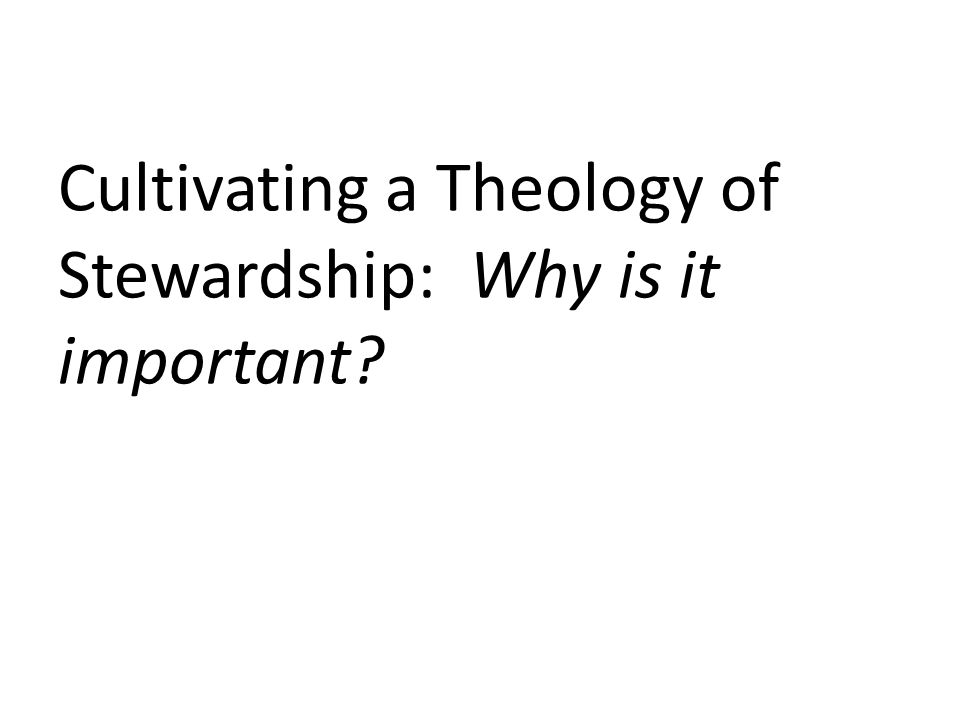Cultivating a Theology of Stewardship: Why is it important