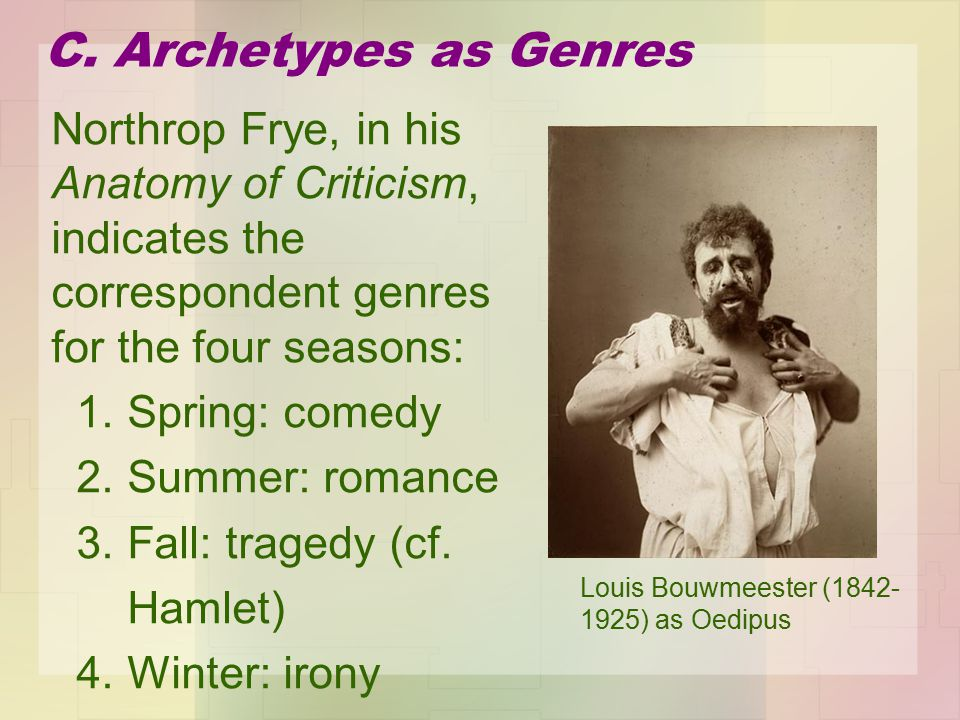 Northrop Frye, in his Anatomy of Criticism, indicates the correspondent genres for the four seasons: 1.
