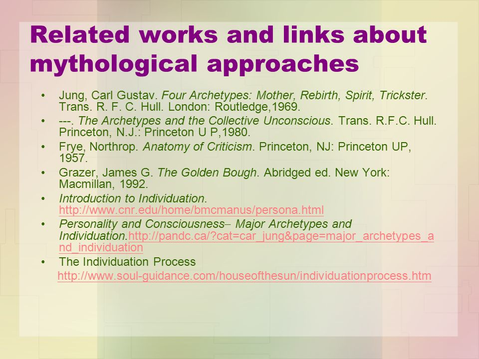 Related works and links about mythological approaches Jung, Carl Gustav.
