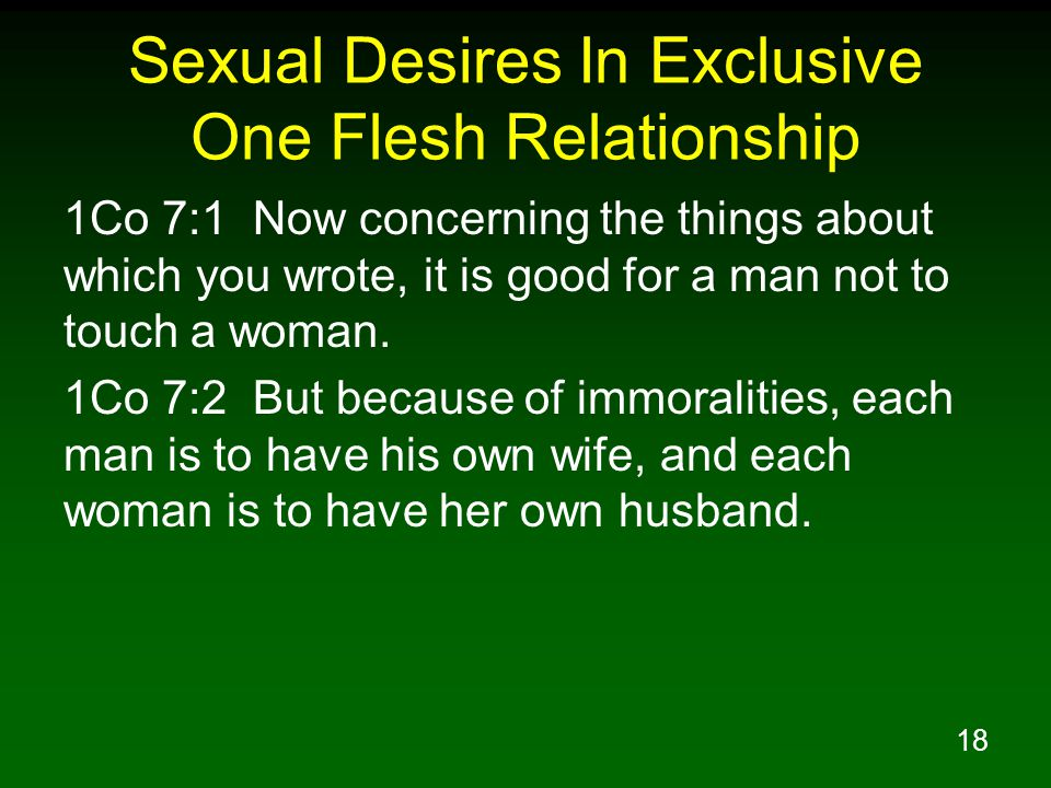 18 Sexual Desires In Exclusive One Flesh Relationship 1Co 7:1 Now concerning the things about which you wrote, it is good for a man not to touch a woman.