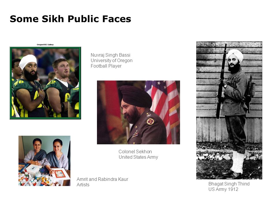 Some Sikh Public Faces Amrit and Rabindra Kaur Artists Colonel Sekhon United States Army Bhagat Singh Thind US Army 1912 Nuvraj Singh Bassi University