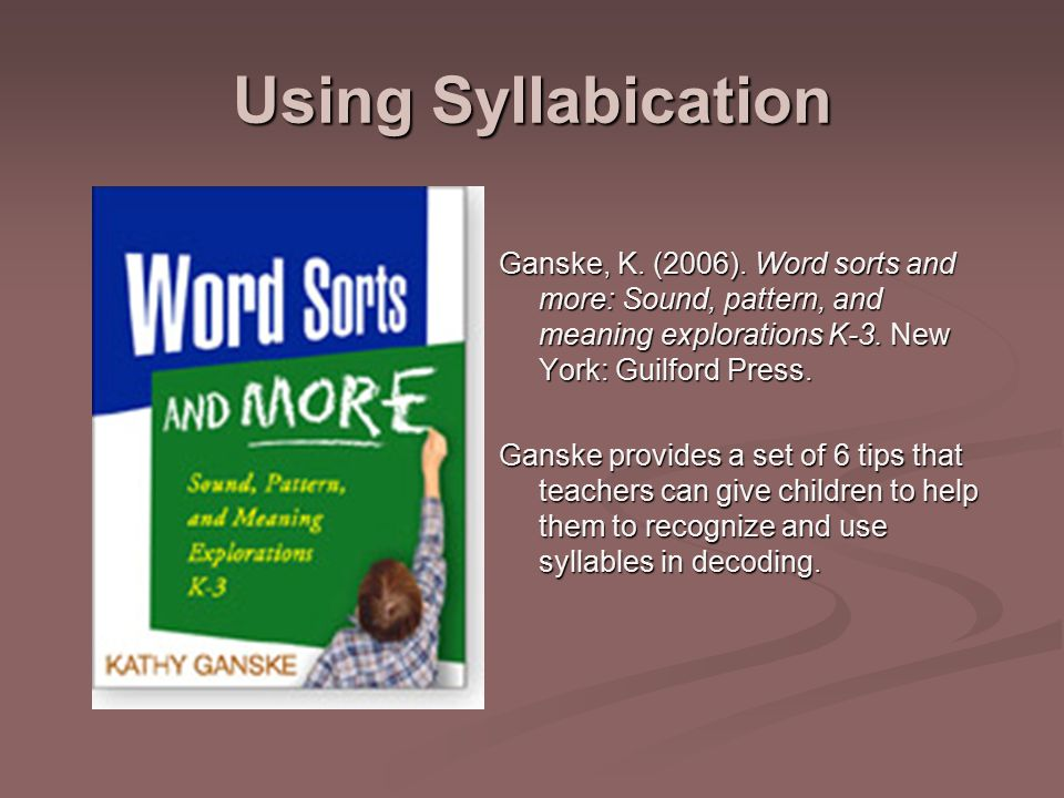Using Syllabication Ganske, K. (2006).