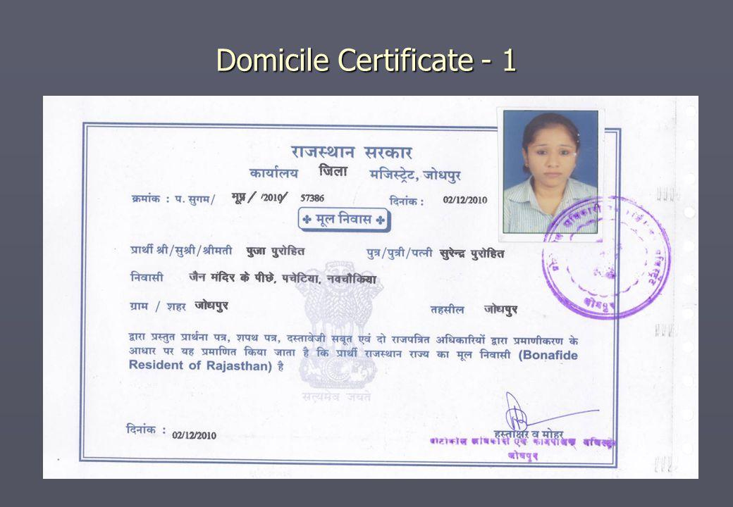 Domicile Certificate - 1