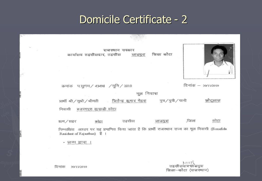 Domicile Certificate - 2