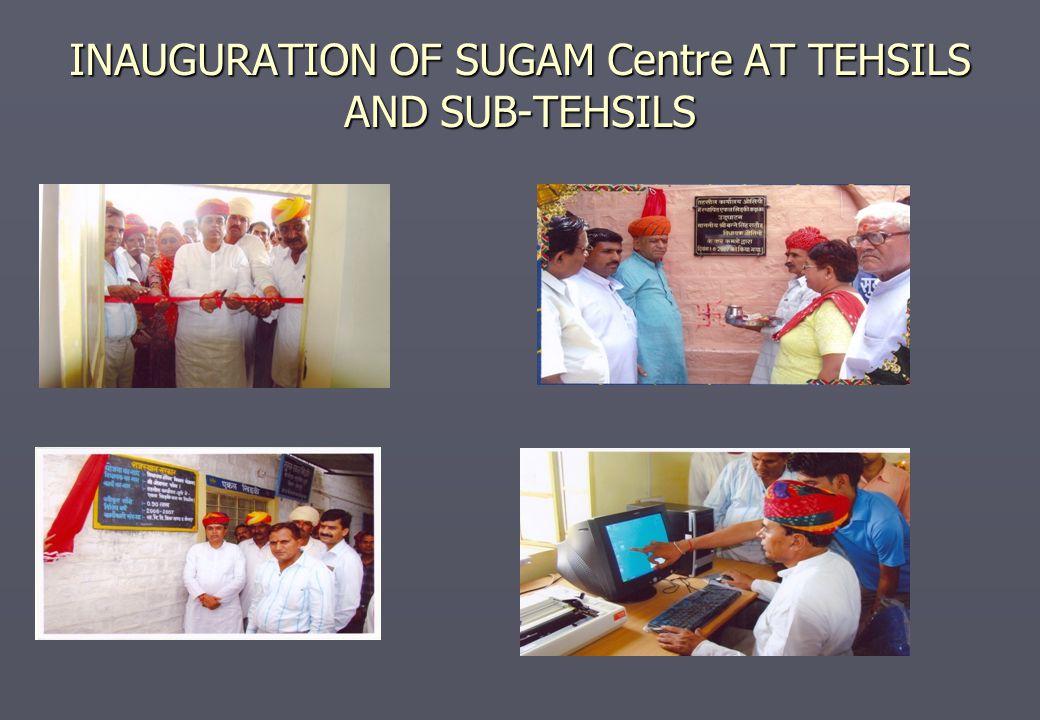 INAUGURATION OF SUGAM Centre AT TEHSILS AND SUB-TEHSILS