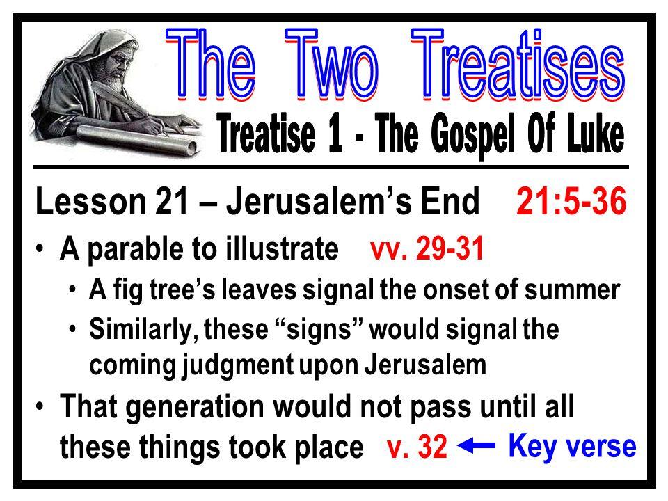 Lesson 21 – Jerusalem's End 21:5-36 A parable to illustrate vv.