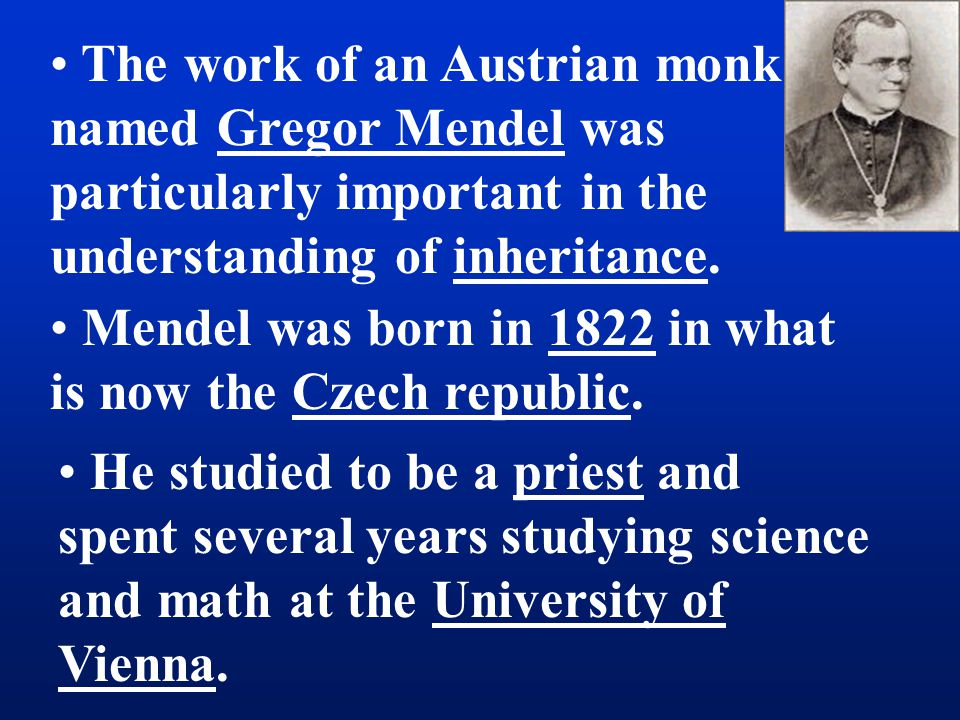 The work of an Austrian monk named Gregor Mendel was particularly important in the understanding of inheritance.