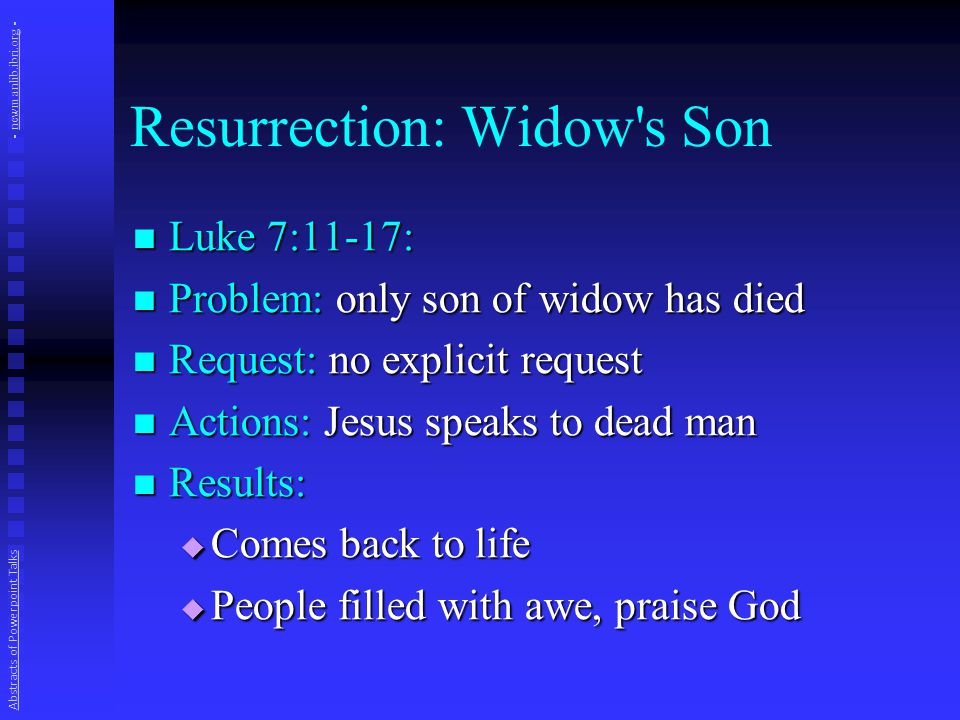 Resurrection: Widow s Son Luke 7:11-17: Luke 7:11-17: Problem: only son of widow has died Problem: only son of widow has died Request: no explicit request Request: no explicit request Actions: Jesus speaks to dead man Actions: Jesus speaks to dead man Results: Results:  Comes back to life  People filled with awe, praise God Abstracts of Powerpoint Talks - newmanlib.ibri.org -newmanlib.ibri.org