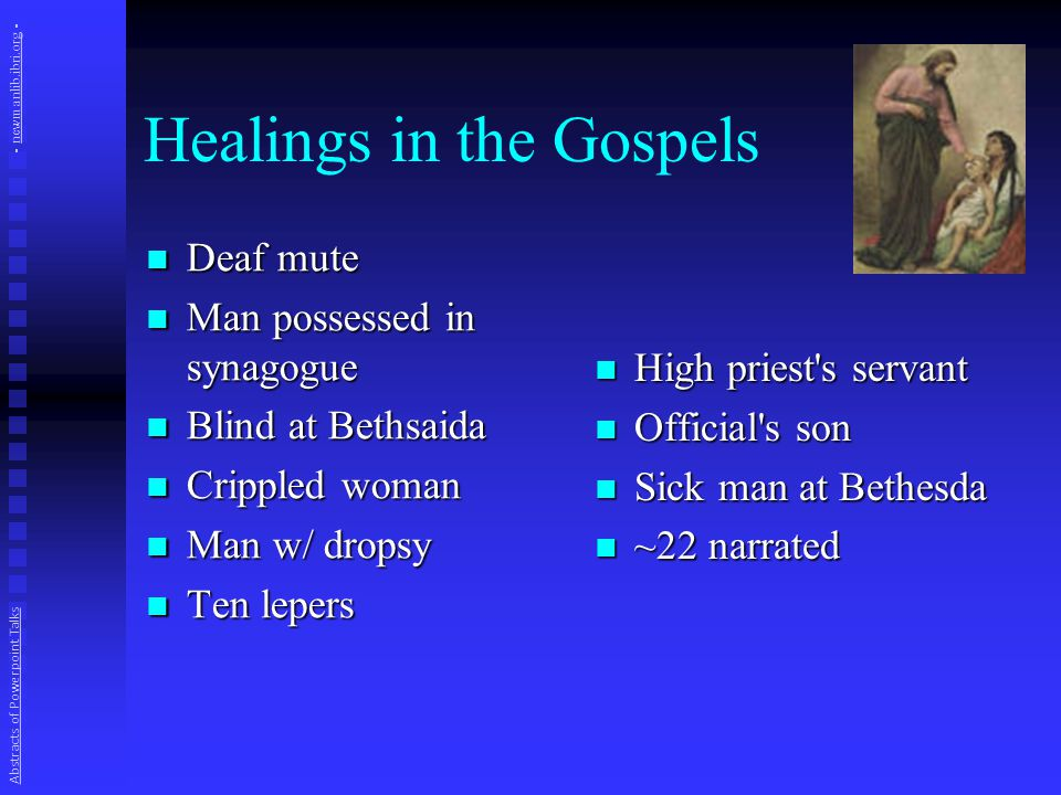 A Healing: Gadarene Demoniac Mark 5:1-20 and parallels Problem (vv 2-5): man possessed by spirit; no one could subdue him; lived in tombs, shouting, hurting self Problem (vv 2-5): man possessed by spirit; no one could subdue him; lived in tombs, shouting, hurting self Request.
