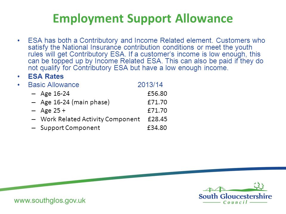 Employment Support Allowance ESA has both a Contributory and Income Related element. Customers who satisfy the National Insurance contribution conditi