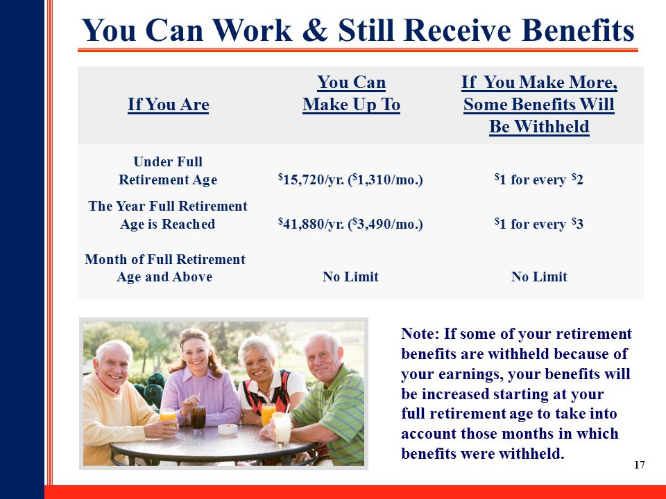 17 You Can Work & Still Receive Benefits You CanIf You Make More, If You AreMake Up ToSome Benefits Will Be Withheld Under Full Retirement Age $ 15,720/yr.
