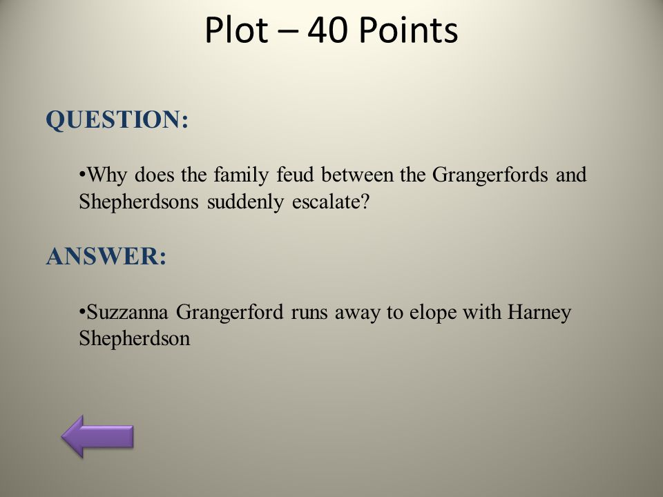 Plot – 40 Points QUESTION: Why does the family feud between the Grangerfords and Shepherdsons suddenly escalate.