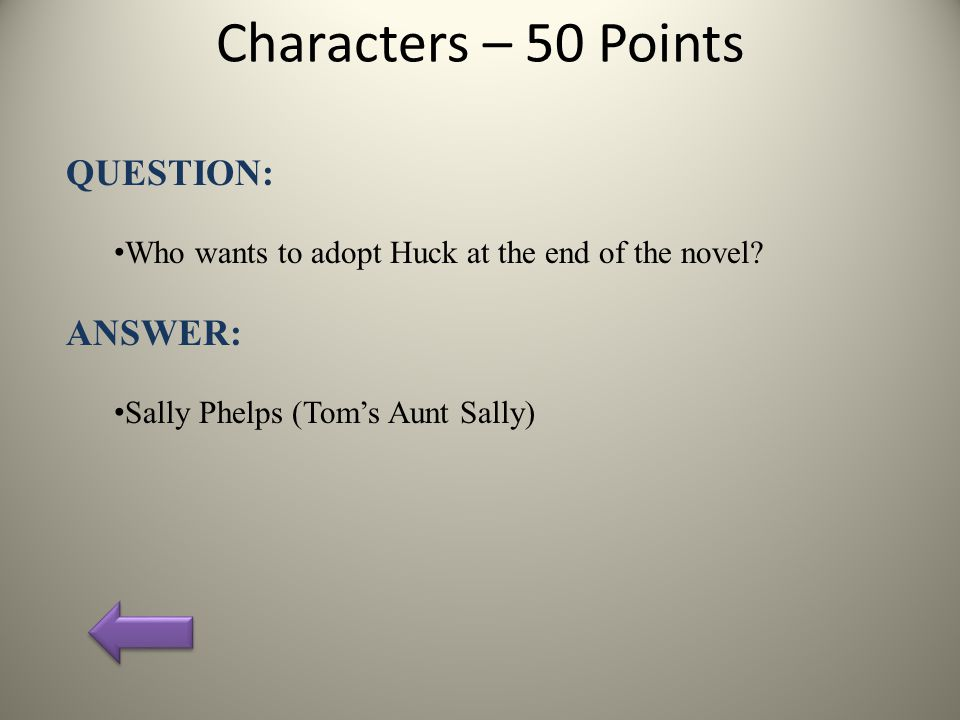 Characters – 50 Points QUESTION: Who wants to adopt Huck at the end of the novel.