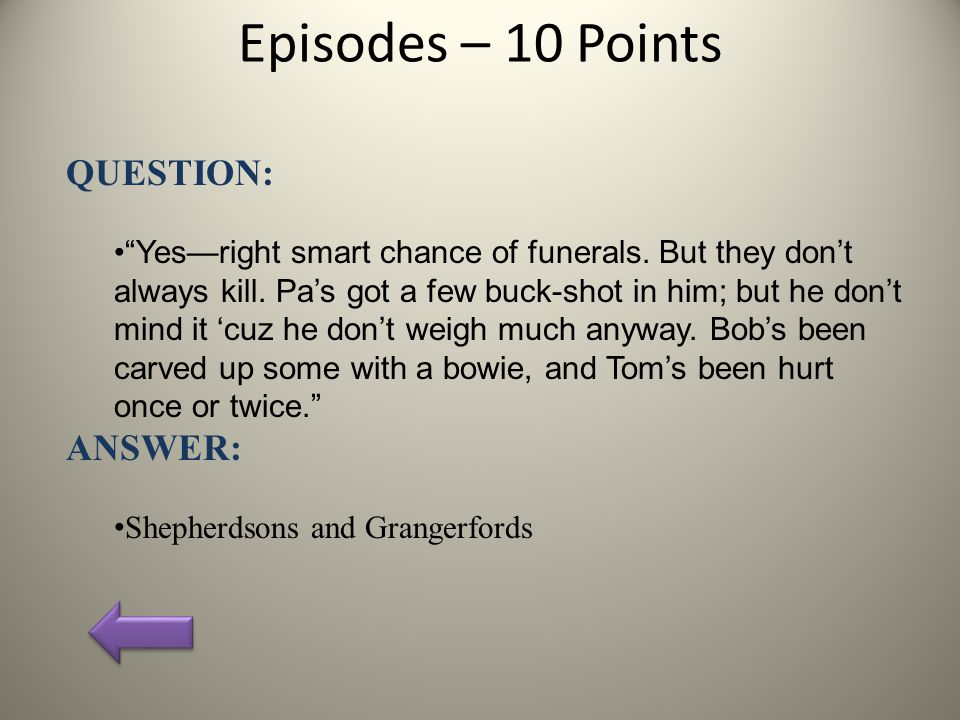 Episodes – 10 Points QUESTION: Yes—right smart chance of funerals.