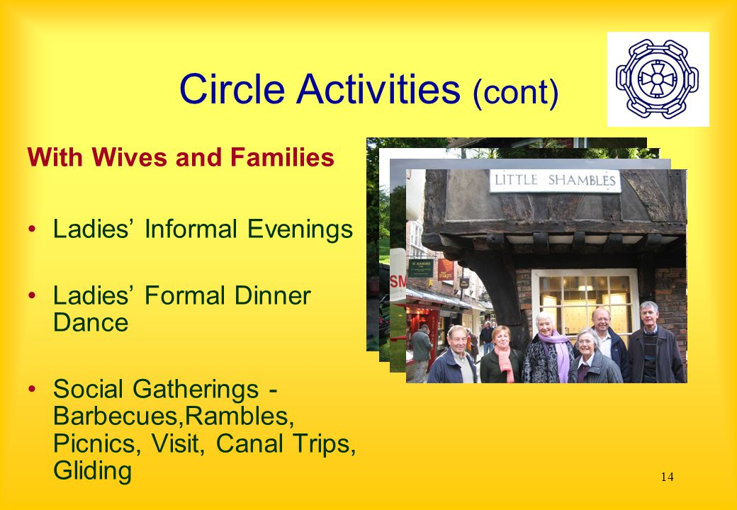 14 Circle Activities (cont) With Wives and Families Ladies' Informal Evenings Ladies' Formal Dinner Dance Social Gatherings - Barbecues,Rambles, Picnics, Visit, Canal Trips, Gliding