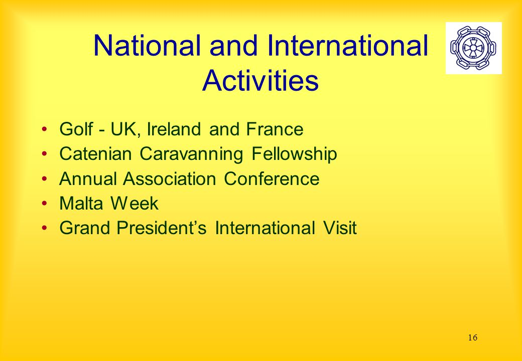 16 National and International Activities Golf - UK, Ireland and France Catenian Caravanning Fellowship Annual Association Conference Malta Week Grand President's International Visit