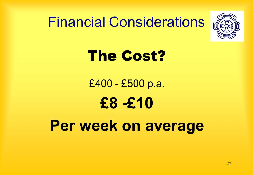22 Financial Considerations The Cost £400 - £500 p.a. £8 -£10 Per week on average