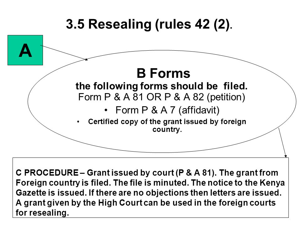 3.5 Resealing (rules 42 (2). B Forms the following forms should be filed. Form P & A 81 OR P & A 82 (petition) Form P & A 7 (affidavit) Certified copy