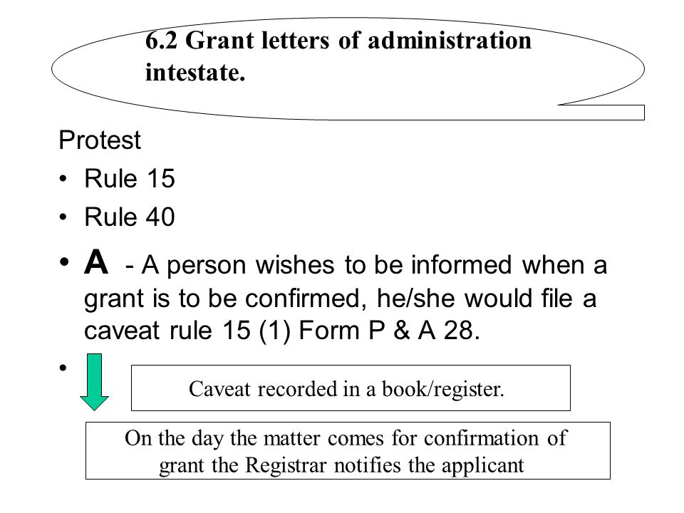 Protest Rule 15 Rule 40 A - A person wishes to be informed when a grant is to be confirmed, he/she would file a caveat rule 15 (1) Form P & A 28. 6.2