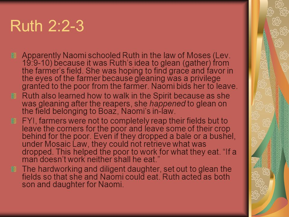Ruth 2:2-3 Apparently Naomi schooled Ruth in the law of Moses (Lev.