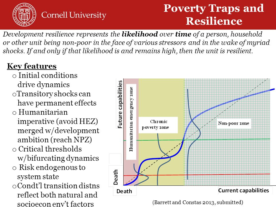 Development resilience represents the likelihood over time of a person, household or other unit being non-poor in the face of various stressors and in the wake of myriad shocks.