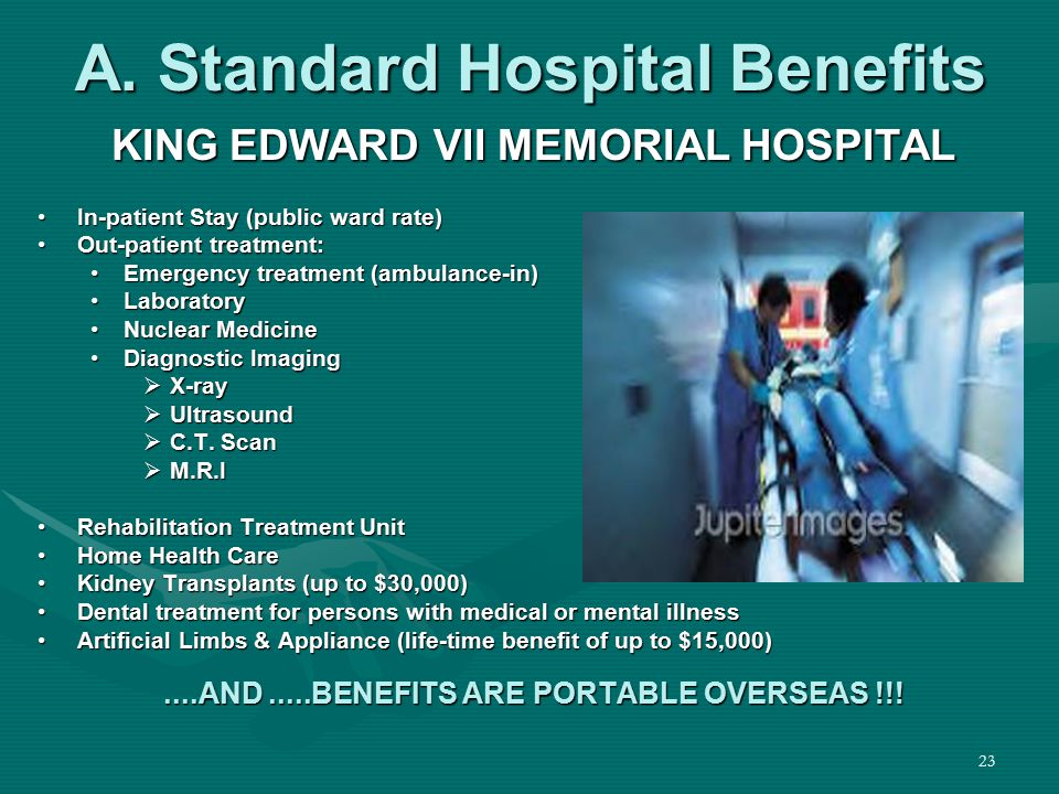 23 A. Standard Hospital Benefits KING EDWARD VII MEMORIAL HOSPITAL In-patient Stay (public ward rate)In-patient Stay (public ward rate) Out-patient tr