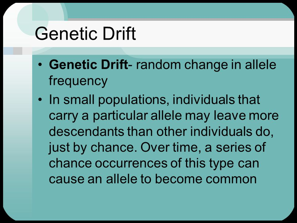 Genetic Drift Genetic Drift- random change in allele frequency In small populations, individuals that carry a particular allele may leave more descend