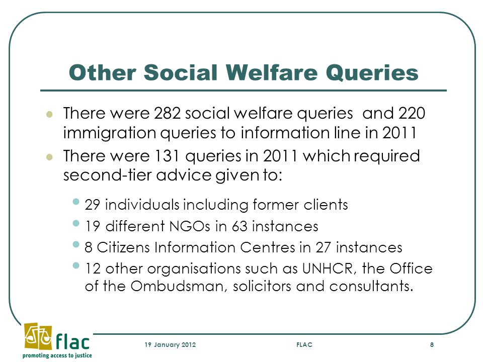 Other Social Welfare Queries There were 282 social welfare queries and 220 immigration queries to information line in 2011 There were 131 queries in 2