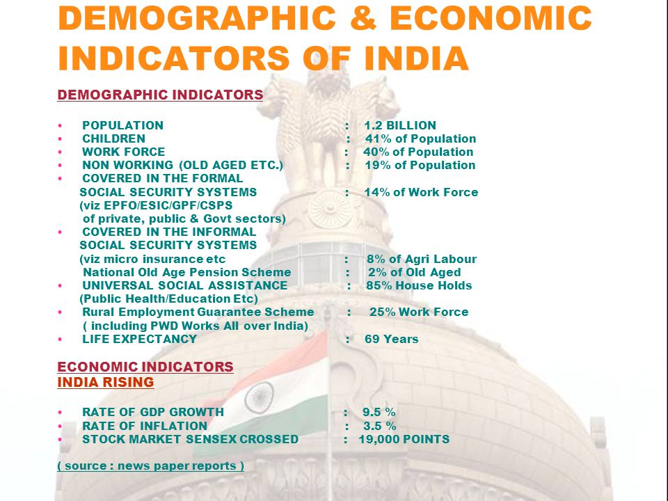DEMOGRAPHIC & ECONOMIC INDICATORS OF INDIA DEMOGRAPHIC INDICATORS POPULATION : 1.2 BILLION CHILDREN : 41% of Population WORK FORCE : 40% of Population NON WORKING (OLD AGED ETC.) : 19% of Population COVERED IN THE FORMAL SOCIAL SECURITY SYSTEMS : 14% of Work Force (viz EPFO/ESIC/GPF/CSPS of private, public & Govt sectors) COVERED IN THE INFORMAL SOCIAL SECURITY SYSTEMS (viz micro insurance etc : 8% of Agri Labour National Old Age Pension Scheme : 2% of Old Aged UNIVERSAL SOCIAL ASSISTANCE : 85% House Holds (Public Health/Education Etc) Rural Employment Guarantee Scheme : 25% Work Force ( including PWD Works All over India) LIFE EXPECTANCY : 69 Years ECONOMIC INDICATORS INDIA RISING RATE OF GDP GROWTH : 9.5 % RATE OF INFLATION : 3.5 % STOCK MARKET SENSEX CROSSED : 19,000 POINTS ( source : news paper reports )