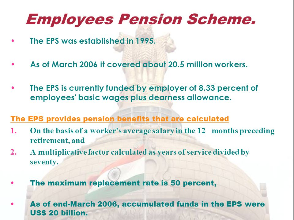 Employees Pension Scheme.The EPS was established in 1995.