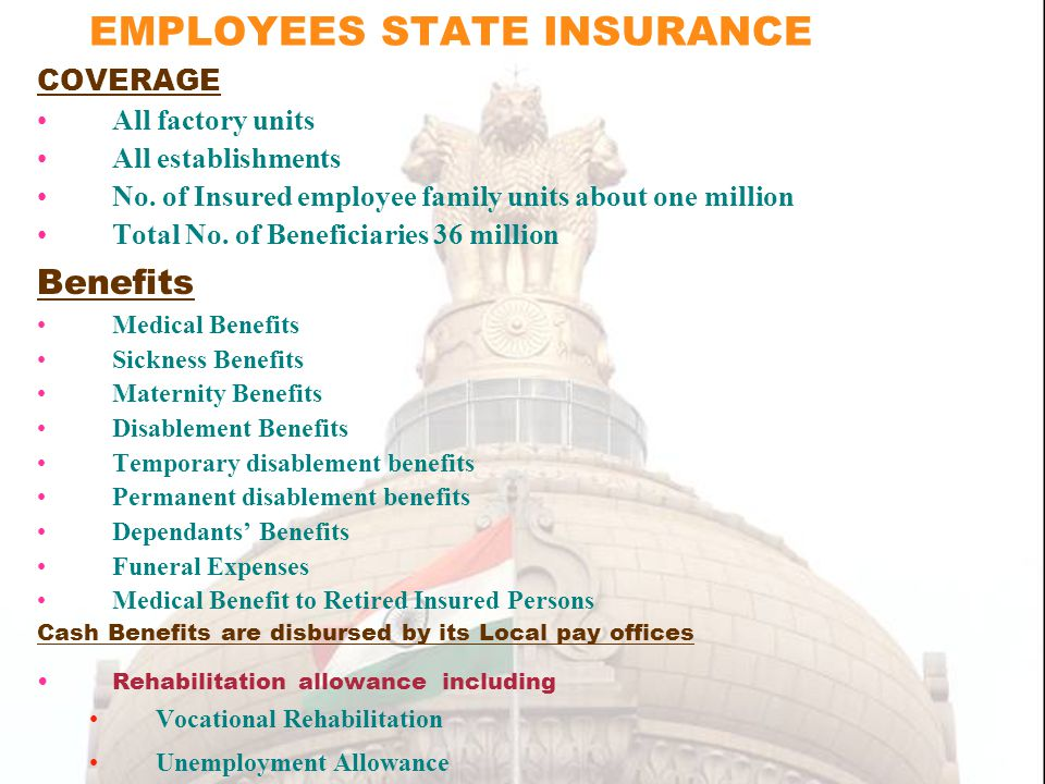 EMPLOYEES STATE INSURANCE COVERAGE All factory units All establishments No.
