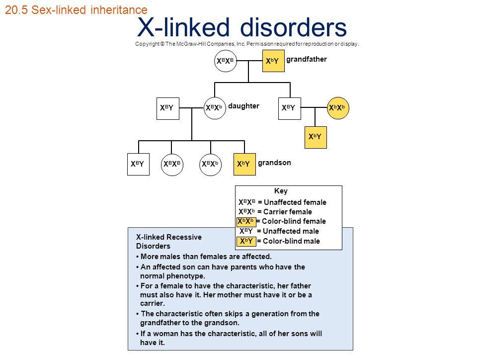 X-linked disorders 20.5 Sex-linked inheritance Key X B X B = Unaffected female X B X b = Carrier female X b X b = Color-blind female X B Y = Unaffecte