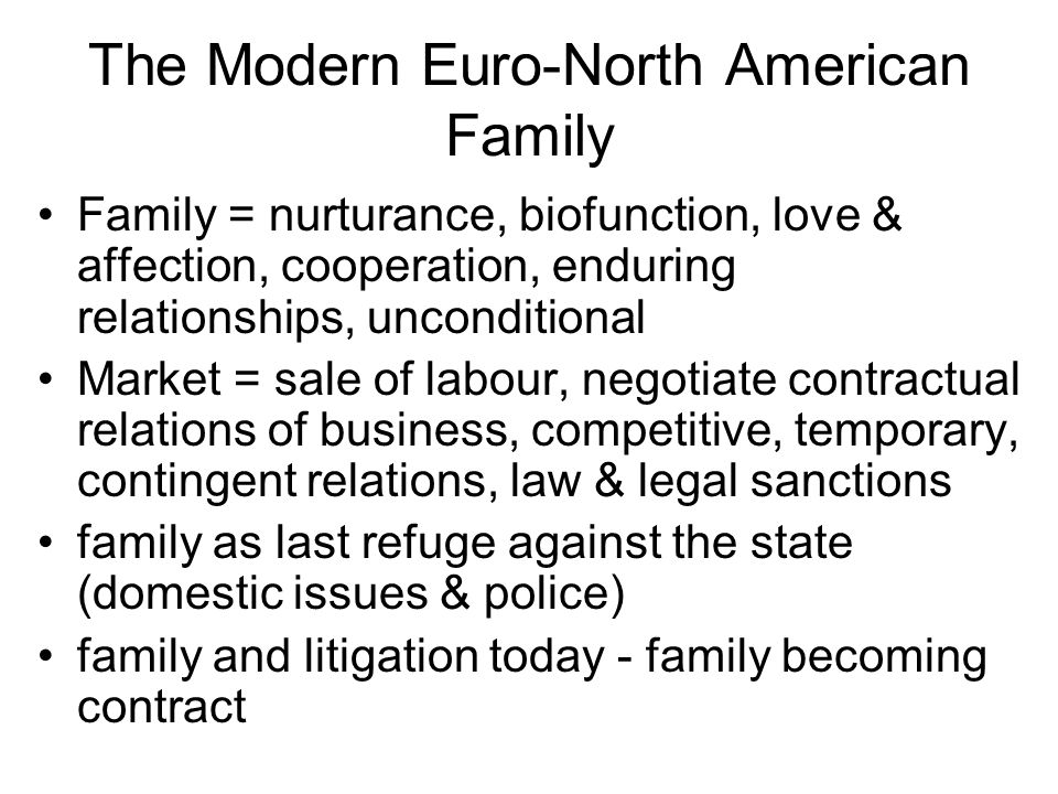 The Modern Euro-North American Family Family = nurturance, biofunction, love & affection, cooperation, enduring relationships, unconditional Market = sale of labour, negotiate contractual relations of business, competitive, temporary, contingent relations, law & legal sanctions family as last refuge against the state (domestic issues & police) family and litigation today - family becoming contract