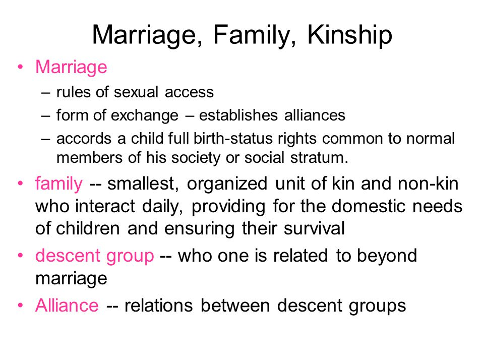Forms of Marriage Monogamy = marriage between two partners Polygamy = plural marriage = an individual has more than one spouse –Polygyny = one man many wives –Polyandry = one woman many husbands No marriage Serial monogamy = preferred practice in the West?