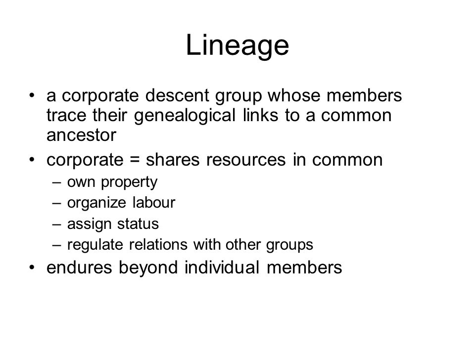 Lineage a corporate descent group whose members trace their genealogical links to a common ancestor corporate = shares resources in common –own property –organize labour –assign status –regulate relations with other groups endures beyond individual members