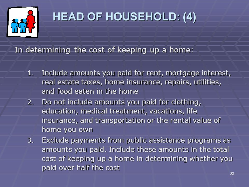 23 HEAD OF HOUSEHOLD: (4) In determining the cost of keeping up a home: 1. Include amounts you paid for rent, mortgage interest, real estate taxes, ho