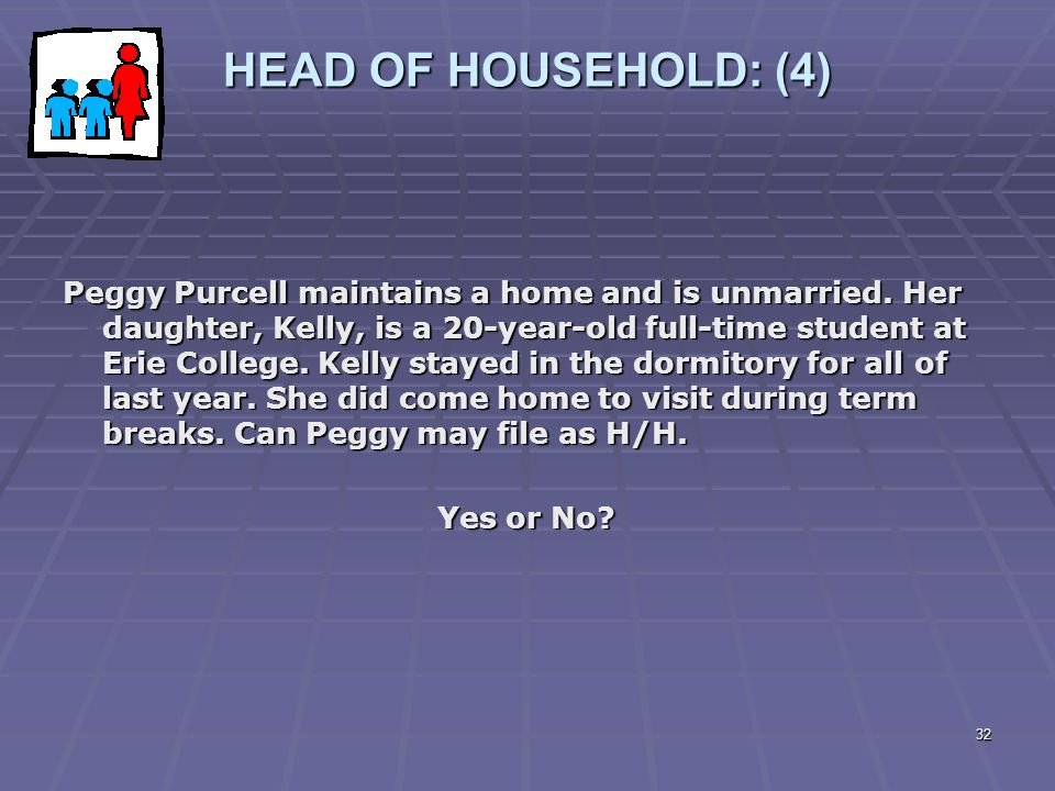 32 HEAD OF HOUSEHOLD: (4) Peggy Purcell maintains a home and is unmarried. Her daughter, Kelly, is a 20-year-old full-time student at Erie College. Ke